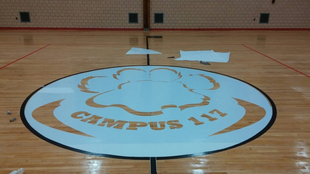 K117 Gym Floor Refinishing/Logo